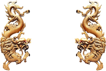 china dragon: Golden dragon statue isolate on white background