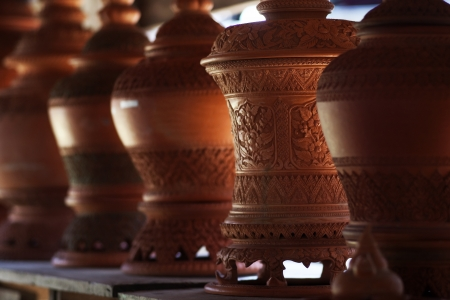 Clay pot for sale in Kohkred,Thailand,Asia Stock Photo