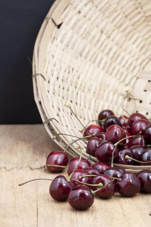 Cherry on wooden background Stock Photo