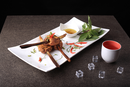 Delicious decorative Jang-ron traditional thai food,  minced fish mushroom and vegetable spicy curry grill