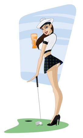 """Cartoon Schotse """"Golf Girl"""" Pin-up"""