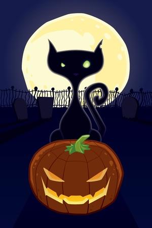 jack o: Halloween Black Cat with Jack O