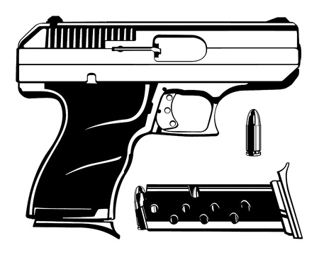 bullets: 9mm Handgun Vector with Bullet and Clip Illustration