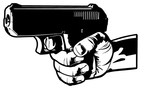 Aiming a 9mm Handgun Vector Illustration