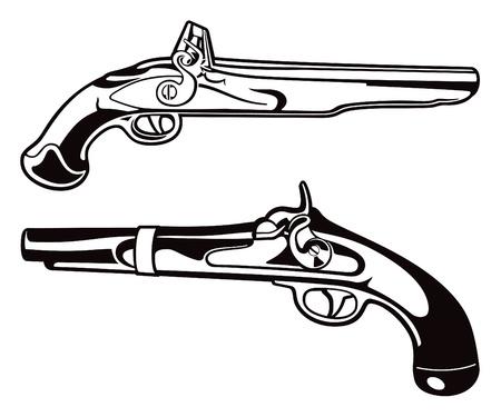 Antique Blackpowder Pistol Vectors Illustration