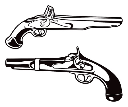firearms: Antique Blackpowder Pistol Vectors Illustration