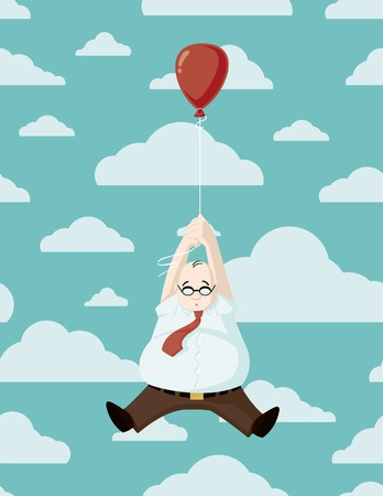flying man: Man with his Red Balloon Illustration