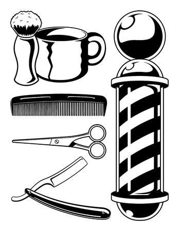straight razor: Vector Barbershop Set