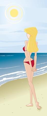 bikini cartoon: Girl Standing on the Beach