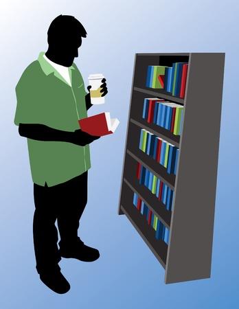 buchhandlung: Silhouette von einem Mann Lesung in einer Buchhandlung