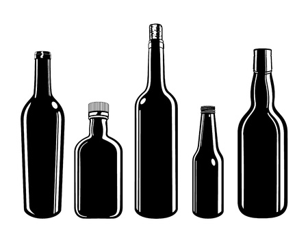 bottle of wine: Five Vector Bottles Illustration