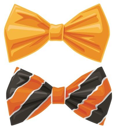 tie bow: Due Orange vettoriali Bow Ties