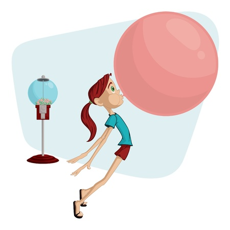 gum: Cartoon Girl Blowing a Bubble Illustration