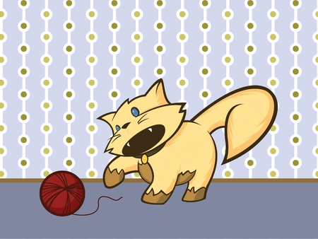 Vector cartoon cat playing with a ball of yarn
