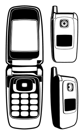Vector Cell Phone (Black and White)
