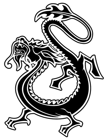 dragon: Vector Chinese Dragon Tattoo Illustration
