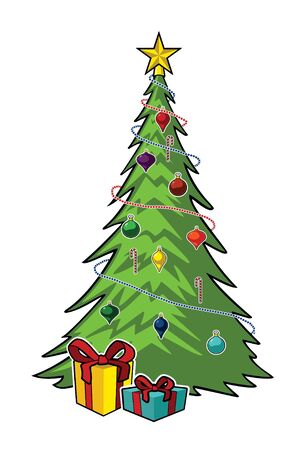 christmas celebration: Vector Christmas Tree With Gifts