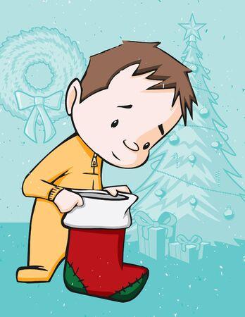Kid Opening Stocking on Christmas Morning Stock Vector - 11995726