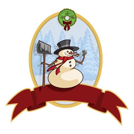 Cartoon Snowman Banner Vector