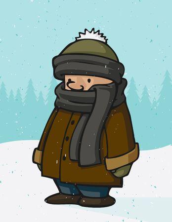 Winter Kid Cartoon Çizim