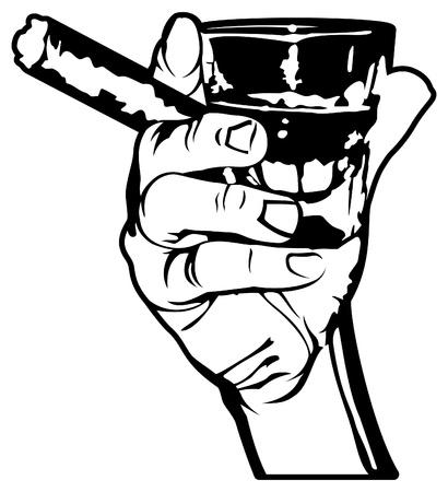 葉巻とウイスキーのショットを持っているベクトル手