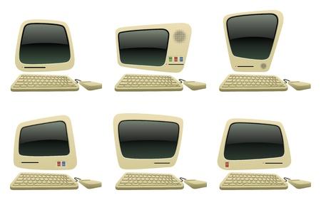 retro computer: Retro Cartoon Computer Vector Icons