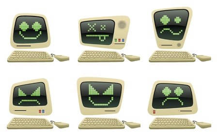 computer screen: Retro Cartoon Computer Vector Icons with Faces