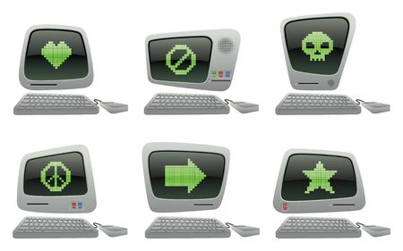 Retro Cartoon Computer Vector Icons with Pixel Icons Two Vector