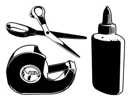 crafting: Vector de artesan�a Suministros (tijeras, cinta adhesiva y pegamento) Vectores