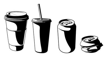 짓 눌린: 벡터 컵과 캔