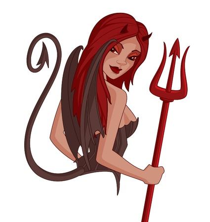 悪魔の少女漫画  イラスト・ベクター素材