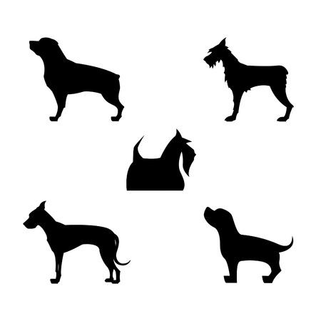 Vector Dog Silhouetten Stock Illustratie