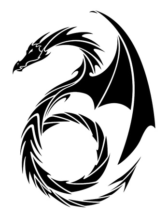 flying dragon: Dragon Tattoo Vector Illustration