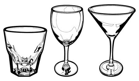 copa de martini: Vidrios de la bebida Vectores
