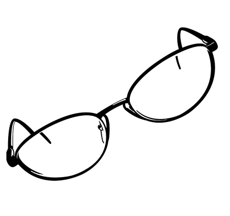 Black and white vector illustration of a pair of eye glasses. Çizim