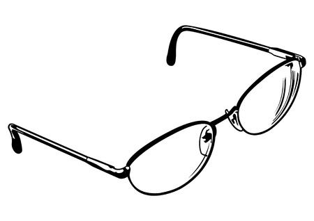 Black and white vector illustration of a pair of eye glasses. Ilustração