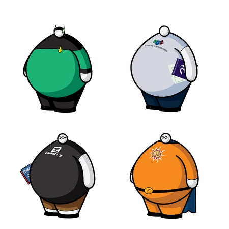 misfit: Cartoon vector illustration of fat nerds with little heads.