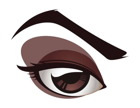 Cartoon illustration of a female eye.