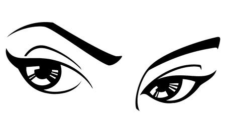 eye sight: Black and white illustration of a womans eyes. Illustration