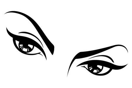 Black and white illustration of a womans eyes. Ilustração