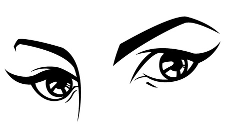 Black and white illustration of a womans eyes. 向量圖像