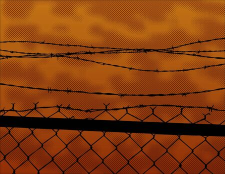 razor wire: Vector illustration of a silhouetted fence with a halftone sunset in the background.