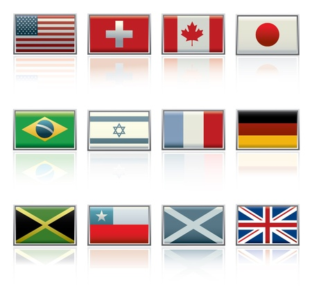 Vector icon set of twelve different international flags.