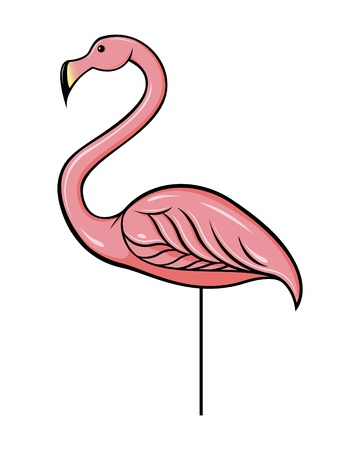 Cartoon vector illustration of a plastic pink flamingo.