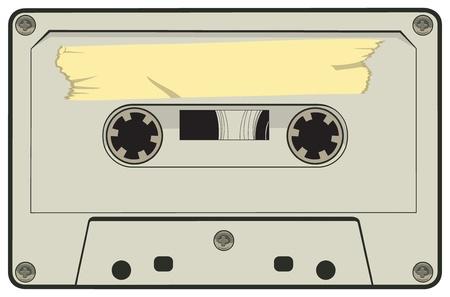 Cartoon vector illustration of a tape cassette.