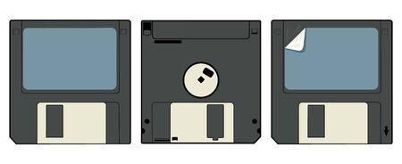 Cartoon vector illustration of a disk cassette.