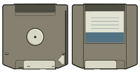 Cartoon vector illustration of a ZIP disk.