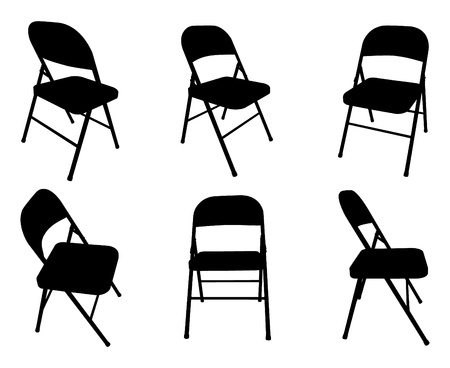 Vector silhouette of six fold out chairs. Vector