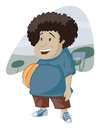 adolescent: Vector illustration of a happy young man and his basketball.