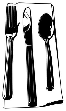 Black and white vector illustration of knife, fork, spoon set. Illusztráció